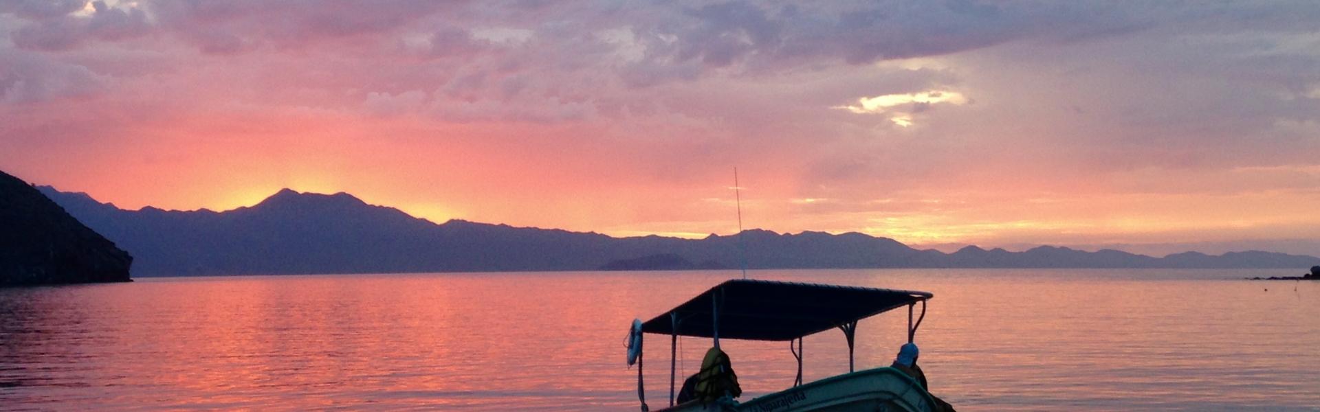 Panga fishing boat on water during sunset