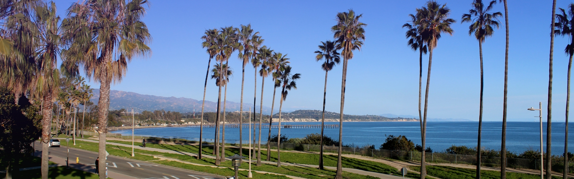 View from Bren Hall of ocean and palm trees