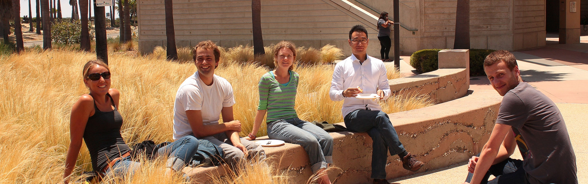 Five students sitting on stone benches by tall grass
