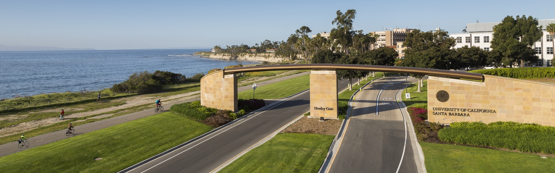 Aerial view of gate to UCSB campus