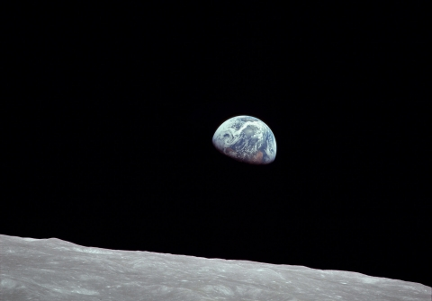 View from the moon of Earth rising