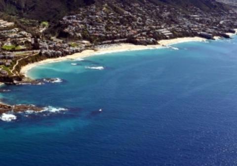 A view of the Laguna Beach coastline seen from the air