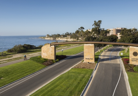 Aerial view of Henley Gate road into campus by beach
