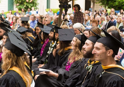 Rows of graduates in caps and gowns