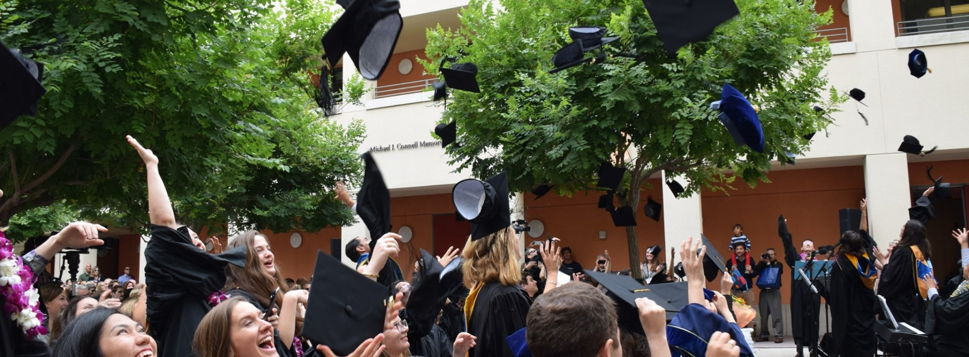 Graduates throwing mortar board caps into the air