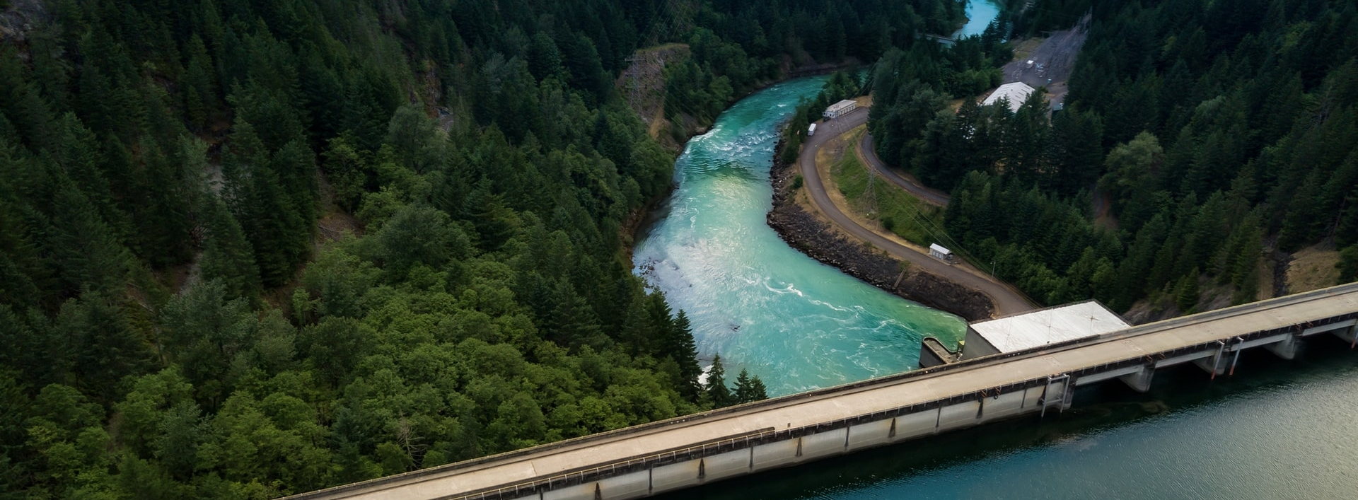 View of a dam on a river from above