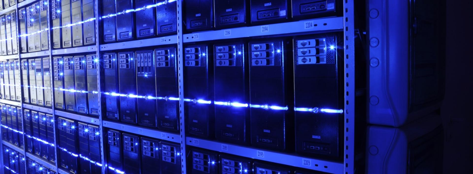 Racks of servers with blue lights