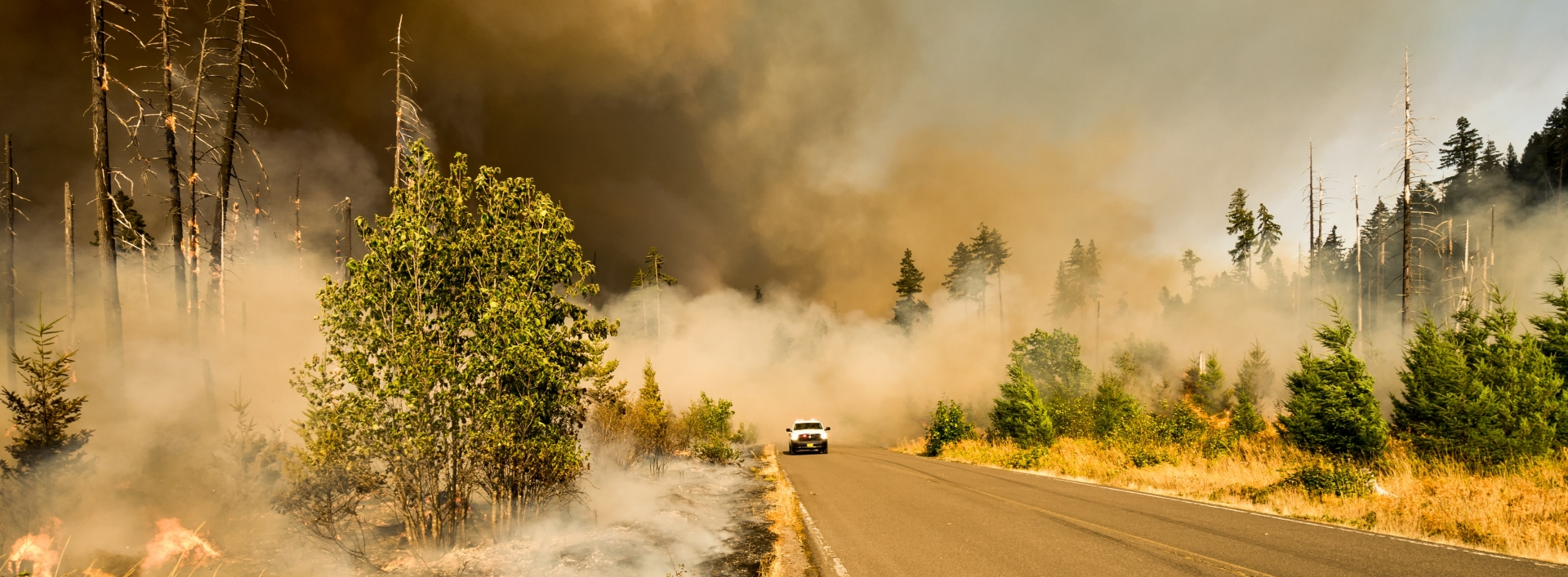 A mountain road is obscured by smoke from a wildfire