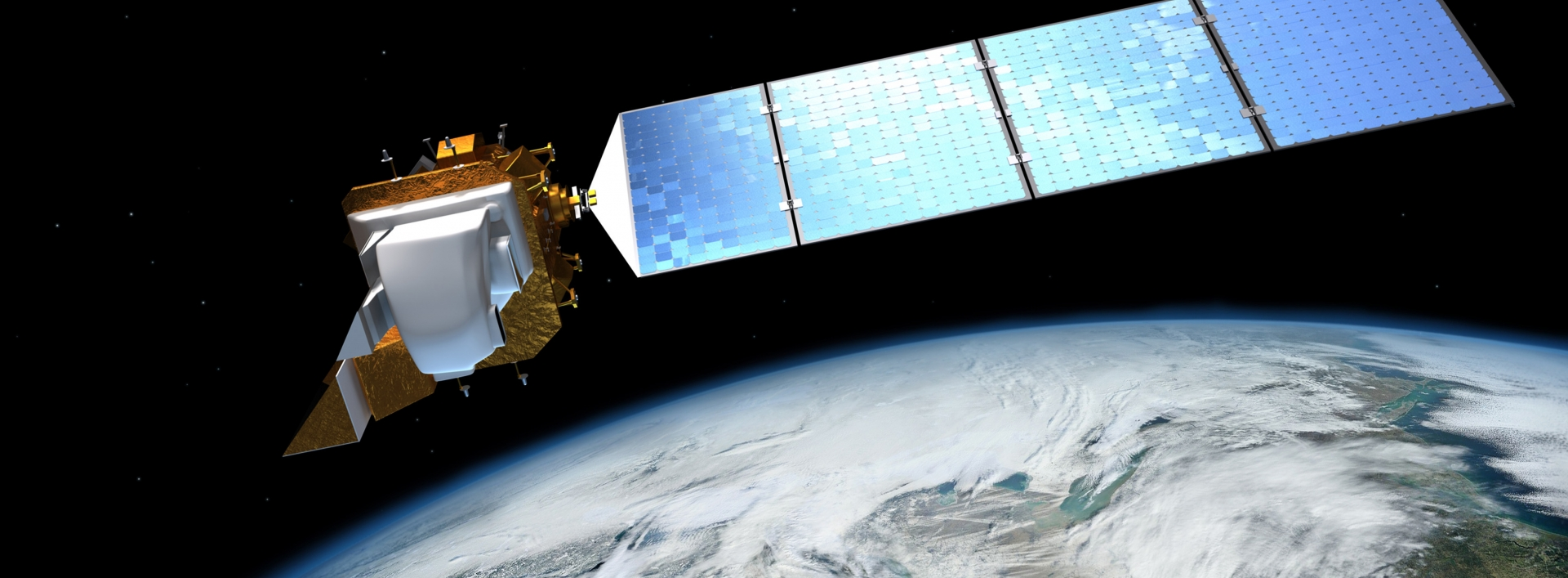 Artist's image of a satellite in space over earth