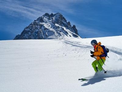 Skier on snowy mountainside