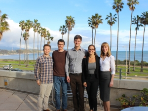Group of five students posing together