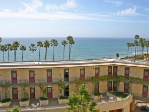 Rooftop with solar panels and ocean view