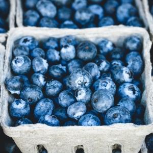 Fresh blueberries in a carton.